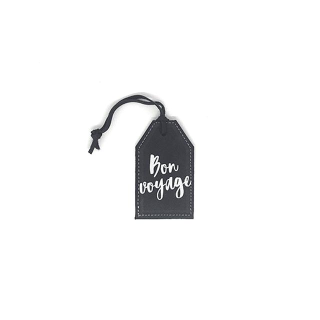 """Tag de equipaje frase """"Bon voyage"""" cuero negro letras plateadas"""