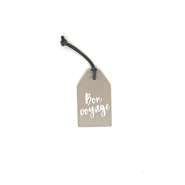 """Tag de equipaje frase """"Bon voyage"""" cuero gris"""