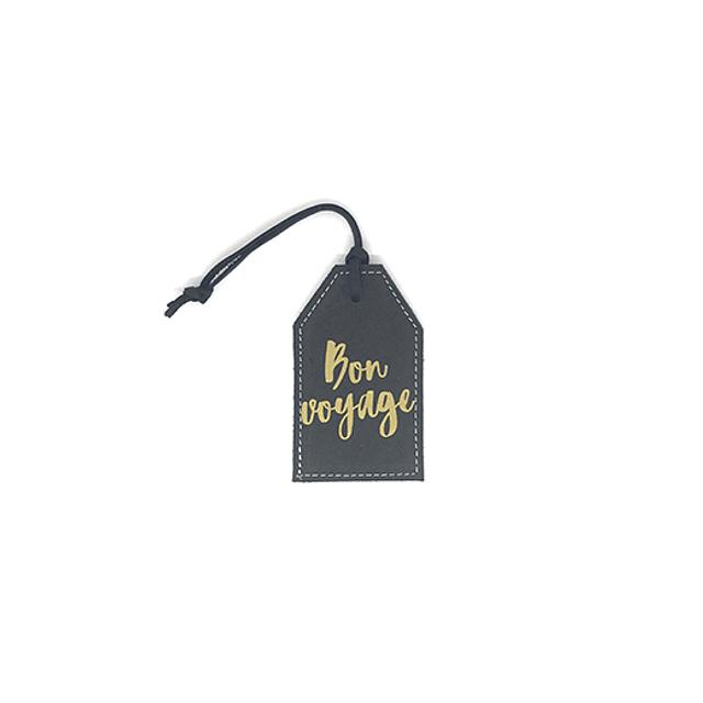 """Tag de equipaje frase """"Bon voyage"""" cuero negro"""