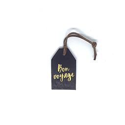"""Tag de equipaje """"Bon voyage"""" cuero cafe"""