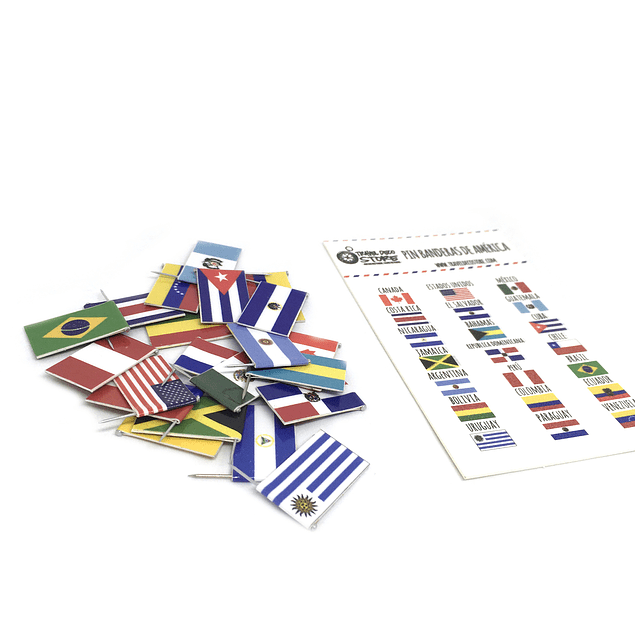 Set banderas pineable de America