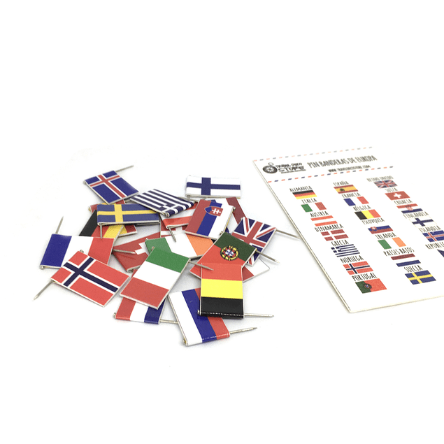 Set banderas pineables de Europa