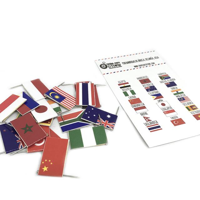 Set de banderas pineables de Asia, Africa y Oceania