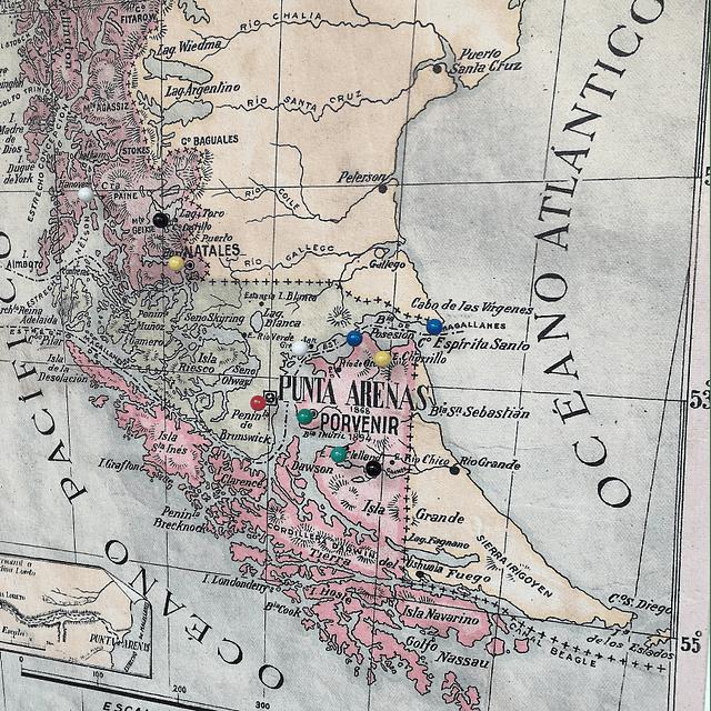 Mapa pineable antigua provincia de Magallanes