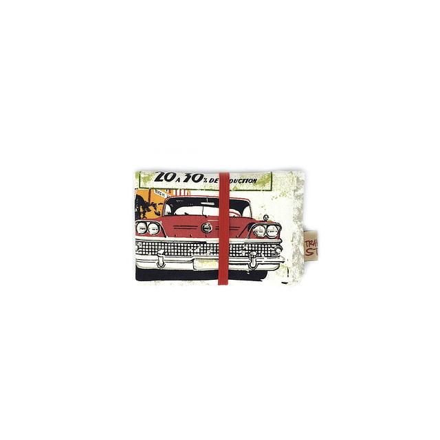 """Porta documentos tela """"classic vintage"""" elástico rojo"""
