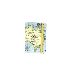 "Porta pasaporte tela ""mapa mundi colores"" con elástico amarillo"