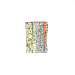 "Porta pasaporte tela ""Mundi rutas"" con elástico"