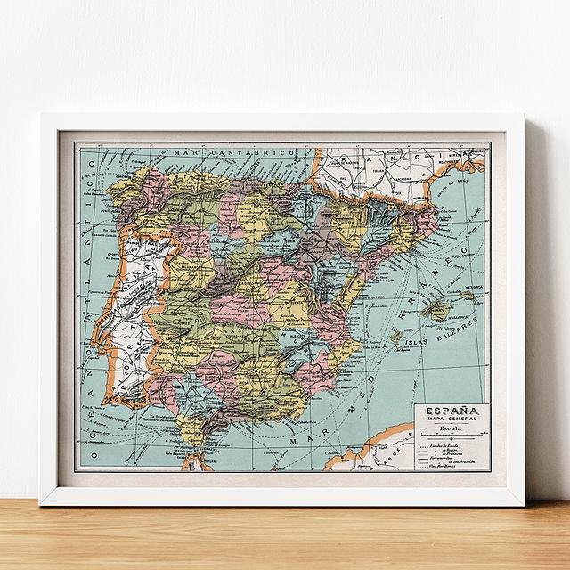 Print para enmarcar: mapa político España fines siglo XIX 25x20 cms