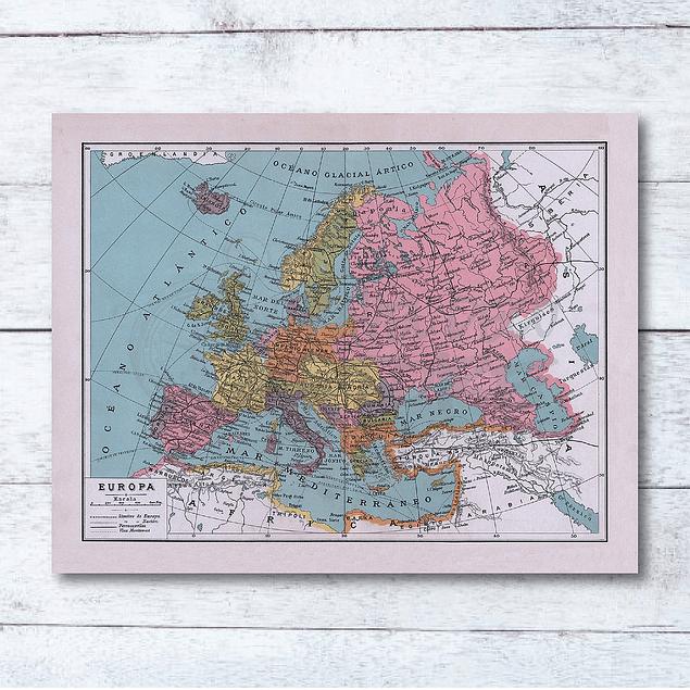 Print para enmarcar: mapa político Europa fines siglo XIX