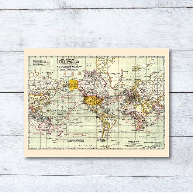 Print para enmarcar: mapa Mundi rutas maritimas de viajes