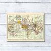 Print para enmarcar: mapa Mundi rutas maritimas de viajes 25x20 cms