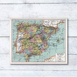 Print para enmarcar: mapa político España fines siglo XIX