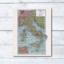 Print para enmarcar: mapa político Italia de fines del siglo XIX 20x25 cms