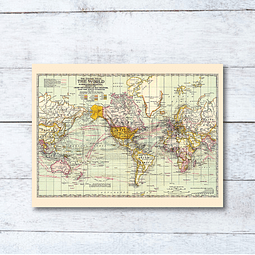 Print para enmarcar: mapa Mundi rutas marítimas de viajes 40x30 cms