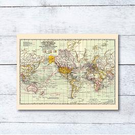 Print para enmarcar 40x30 cms: mapa Mundi rutas marítimas de viajes
