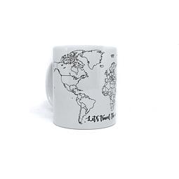 "Tazón TDS mapa mundi b/n ""Let`s travel the world!"""