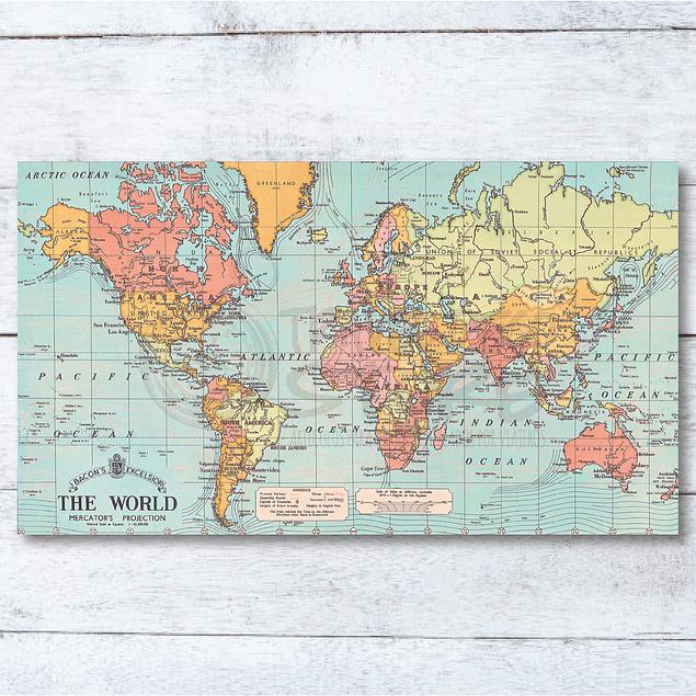 Print para enmarcar 120x70 cms: mapa Mundi