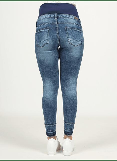 Jeans slim tobillero bajo deshilachado
