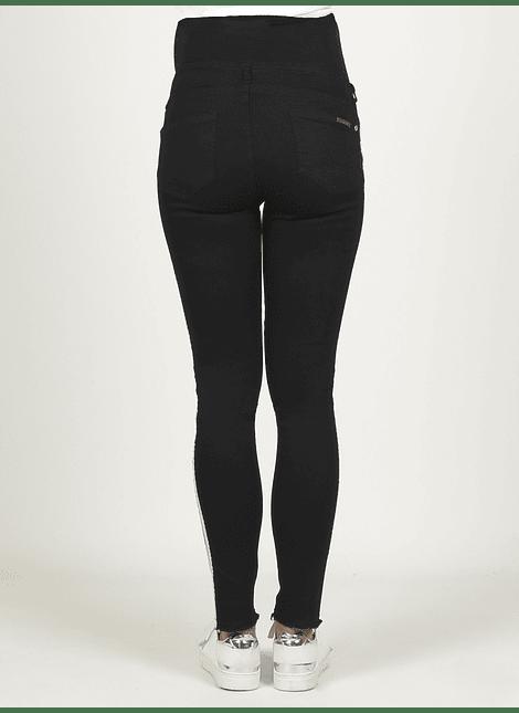 Jeans negro crop con cintas blancas