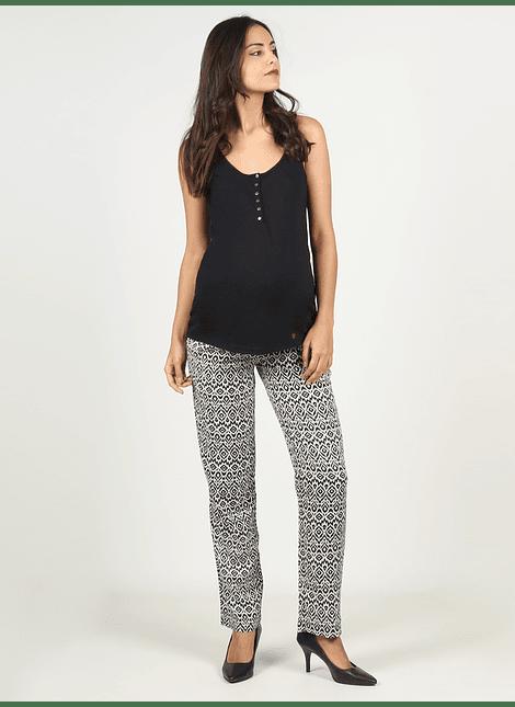 Pantalón ancho estampado negro con blanco