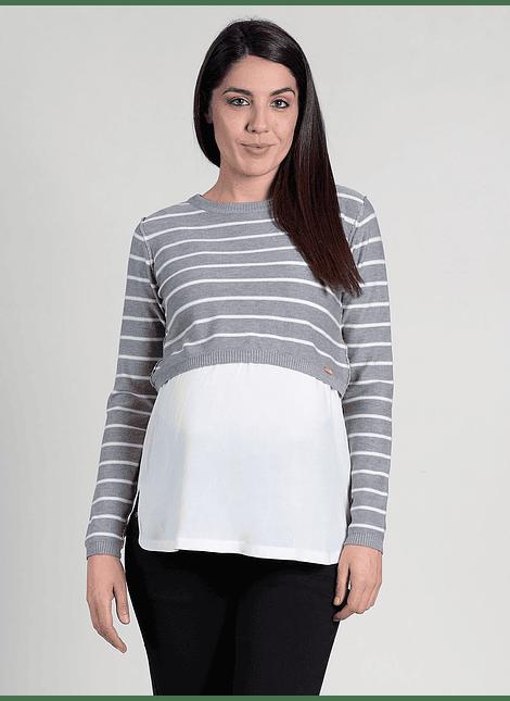 Chaleco de rayas con bajo de camisa