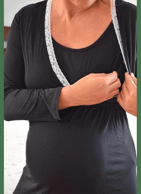 Camisa de dormir Margarita negro manga larga