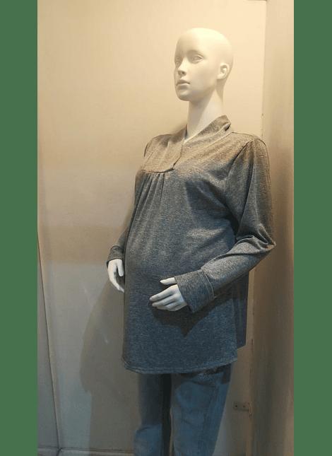 Polera maternal cuello en V gris