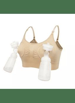 Sostén elasticado para extractor y lactancia beige