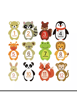 Stickers animales meses