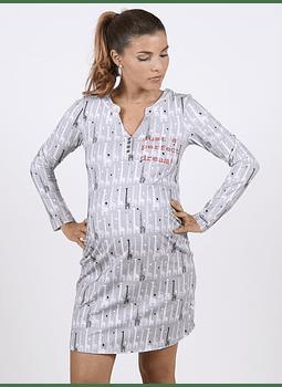 Camisa dormir gris con estampados manga larga Maternal y Lactancia