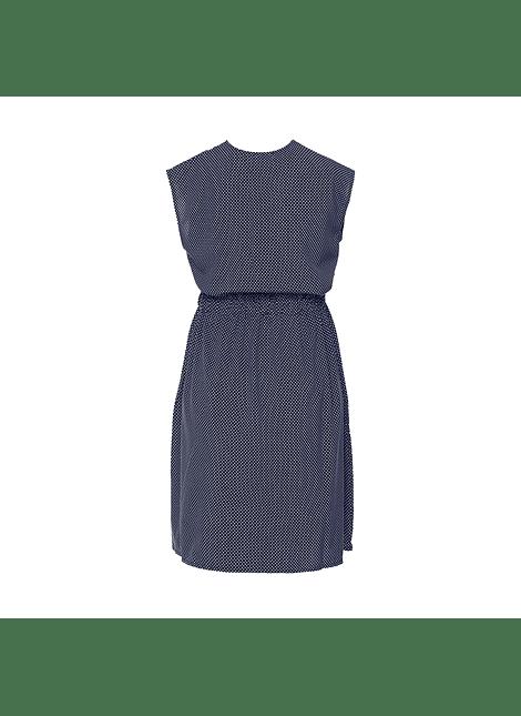 Vestido azul marino puntitos sin mangas