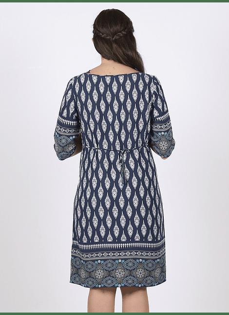 Vestido túnica manga 3/4 azul