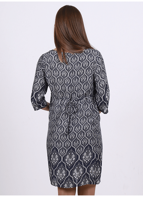 Vestido túnica manga 3/4 azul marino