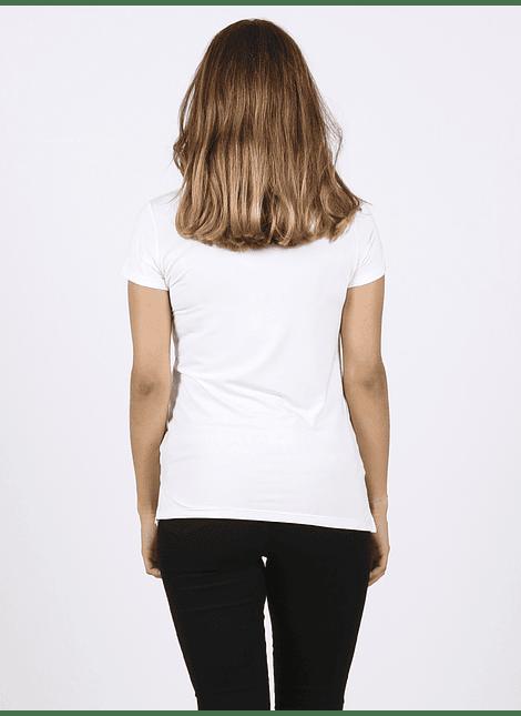 Polera manga corta blanca y estampado