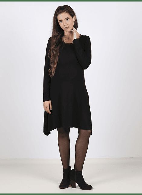 Vestido maternal cuello redondo negro