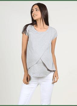 Camiseta lactancia rayas cruzada delante gris