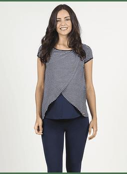 Camiseta lactancia rayas cruzada delante azul marino