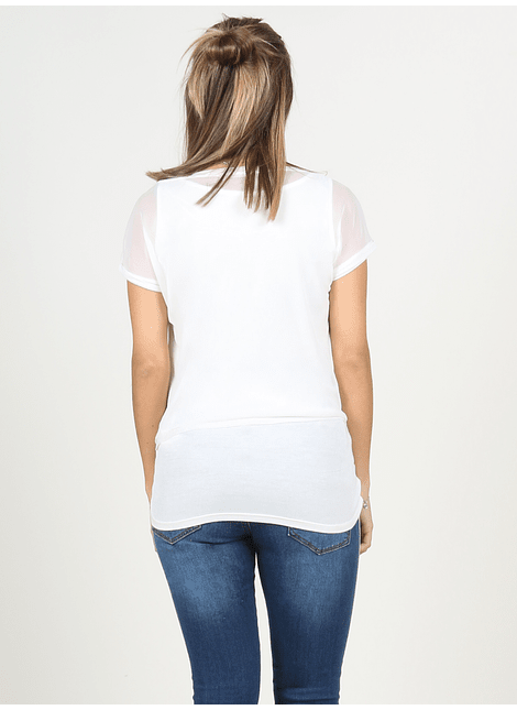 Polera doble de lactancia con top en tul