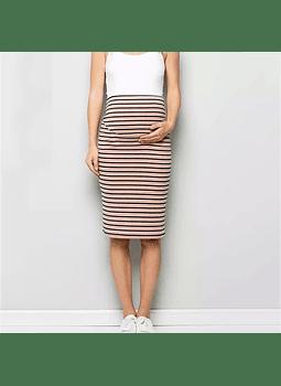 Falda maternal rosada con rayas