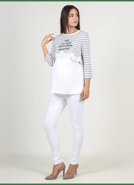 Polera rayas  con crochet gris