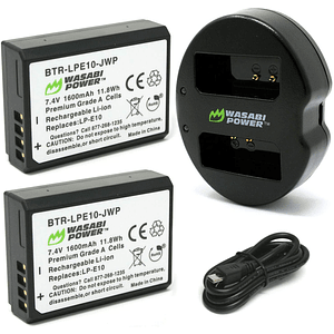 Wasabi Power KIT-BB-LPE10 Pack de 2 baterías LP-E10 para Canon