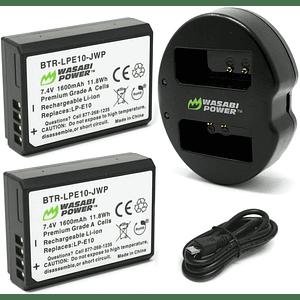 Wasabi Power LP-E10 Kit de Baterías y Cargador para Canon / KIT-BB-LPE10