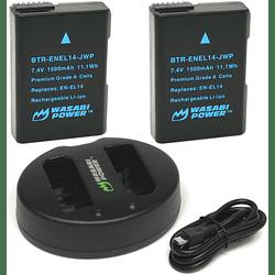 Wasabi Power EN-EL14 Kit de Baterías y Cargador para Nikon / EN-EL14