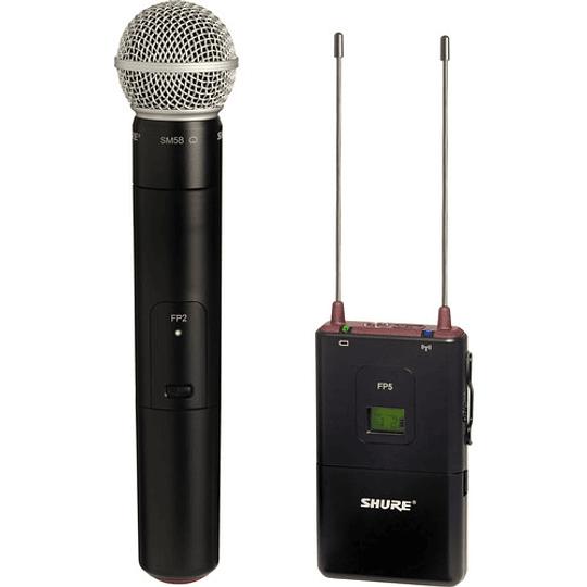 Shure FP25/SM58 Sistema de Micrófono de Mano Cardioide Inalámbrico para Montaje en Cámara (G5: 494 to 518 MHz) - Image 1