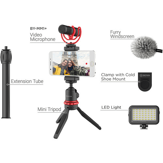 BOYA BY-VG350 Vlogger Kit Plus (PL30 LED /T1 Trípode /C12 Shoe Mount /MM1+ Mic Plus) - Image 2