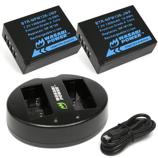 Wasabi Power NP-W126 Kit de Baterías y Cargador para Fujifilm / NPW126-01 - Image 1