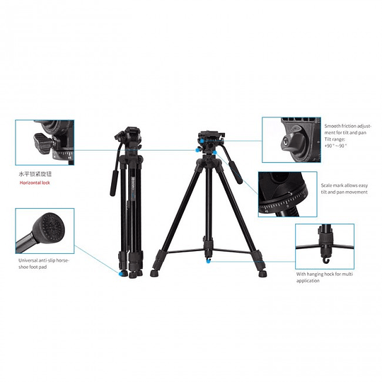BENRO T980EX Kit Trípode Semi-Profesional de Video - Image 7