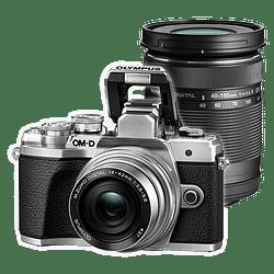Olympus OM-D E-M10 Mark III KIT Cámara Mirrorless Micro 4/3 con Lentes 14-42mm EZ + 40-150mm R (SILVER)