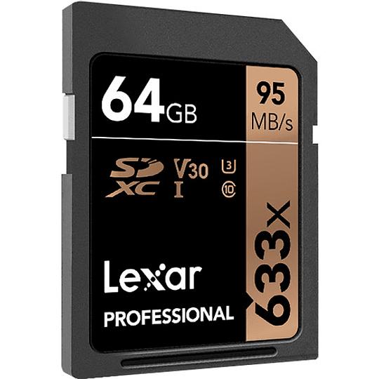 Lexar 64GB Professional 633x UHS-I SDXC Tarjeta de Memoria - Image 1