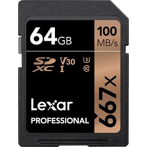 Lexar 64GB Professional 677x UHS-I SDXC U3 V30 CLASSE 10 Tarjeta de Memoria 4K